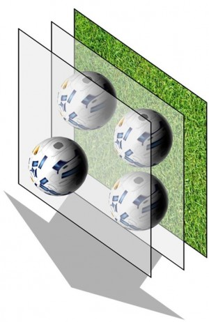 Caption: Illustration in 3D of the dynamic stereoscopic stimulus: the target objects are constantly moving towards the observer.